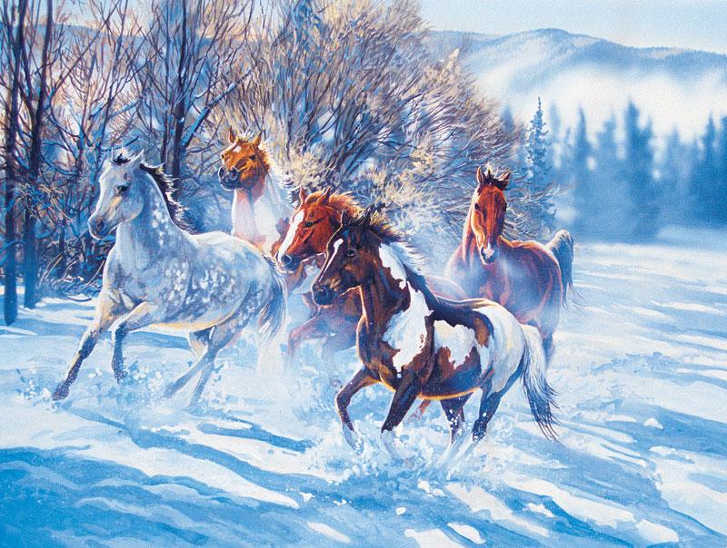 Snow Flies Horses Jigsaw Puzzle