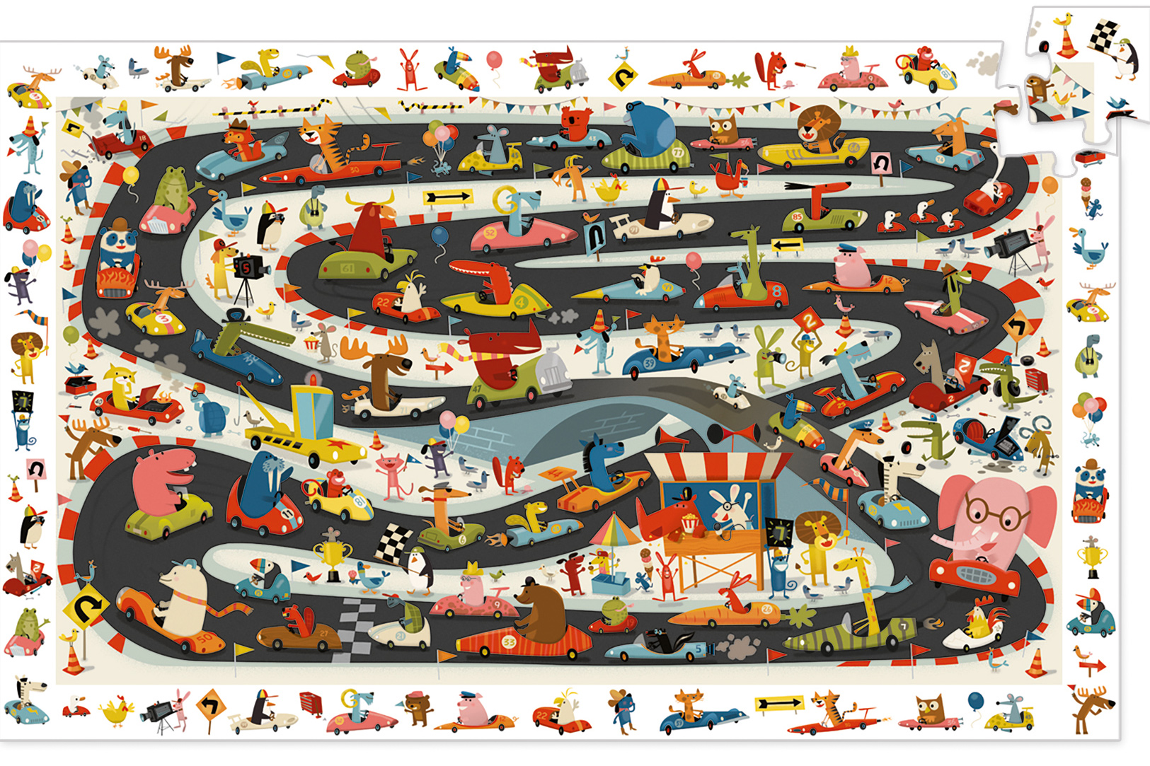Automobile Rally Animals Jigsaw Puzzle