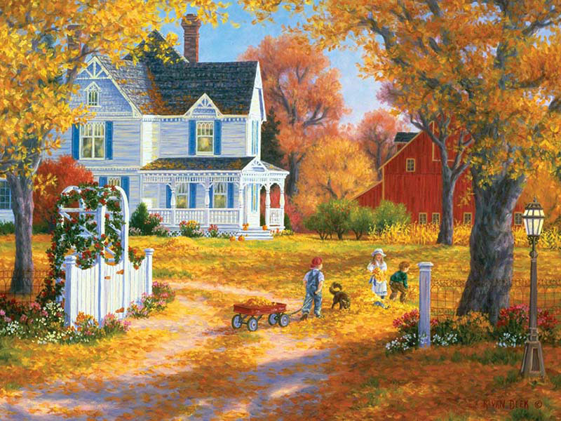 Memory Lane - Autumn Leaves and Laughter Jigsaw Puzzle