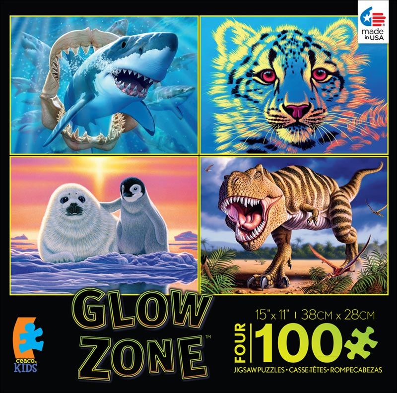 4-in-1 Puzzle Pack Glow Zone - Scratch and Dent Dinosaurs Glow in the Dark Puzzle