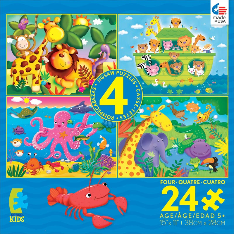 4-in-1 Puzzle Pack - 24pc Blue Jungle Animals Jigsaw Puzzle