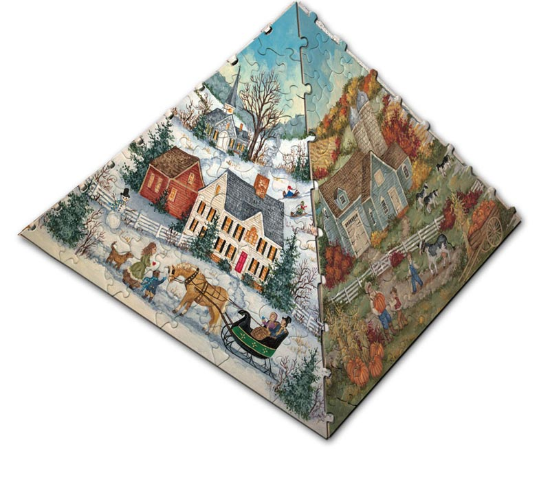 3D Pyramid - Four Seasons Countryside 3D Puzzle