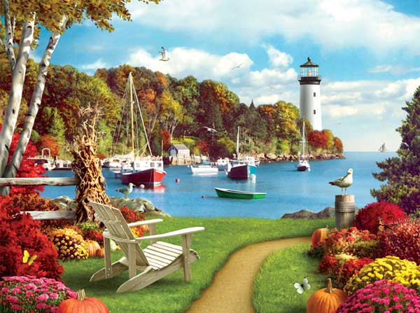 Memory Lane - One Autumn Afternoon Boats Jigsaw Puzzle
