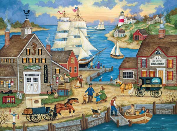 Main Street Space Savers - The Captain's Return Boats Jigsaw Puzzle