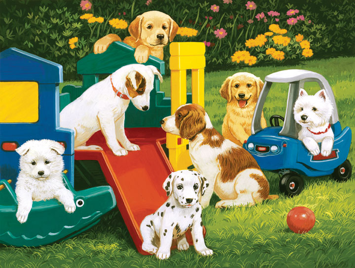 Playful Paws - Puppy Playground Dogs Jigsaw Puzzle