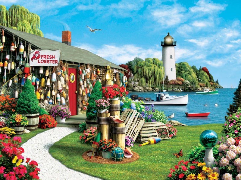 Lobster Bay (Memory Lane) Lighthouses Jigsaw Puzzle