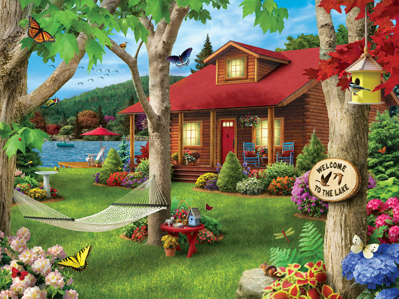 Lakeside Retreat (Lazy Days) Butterflies and Insects Jigsaw Puzzle