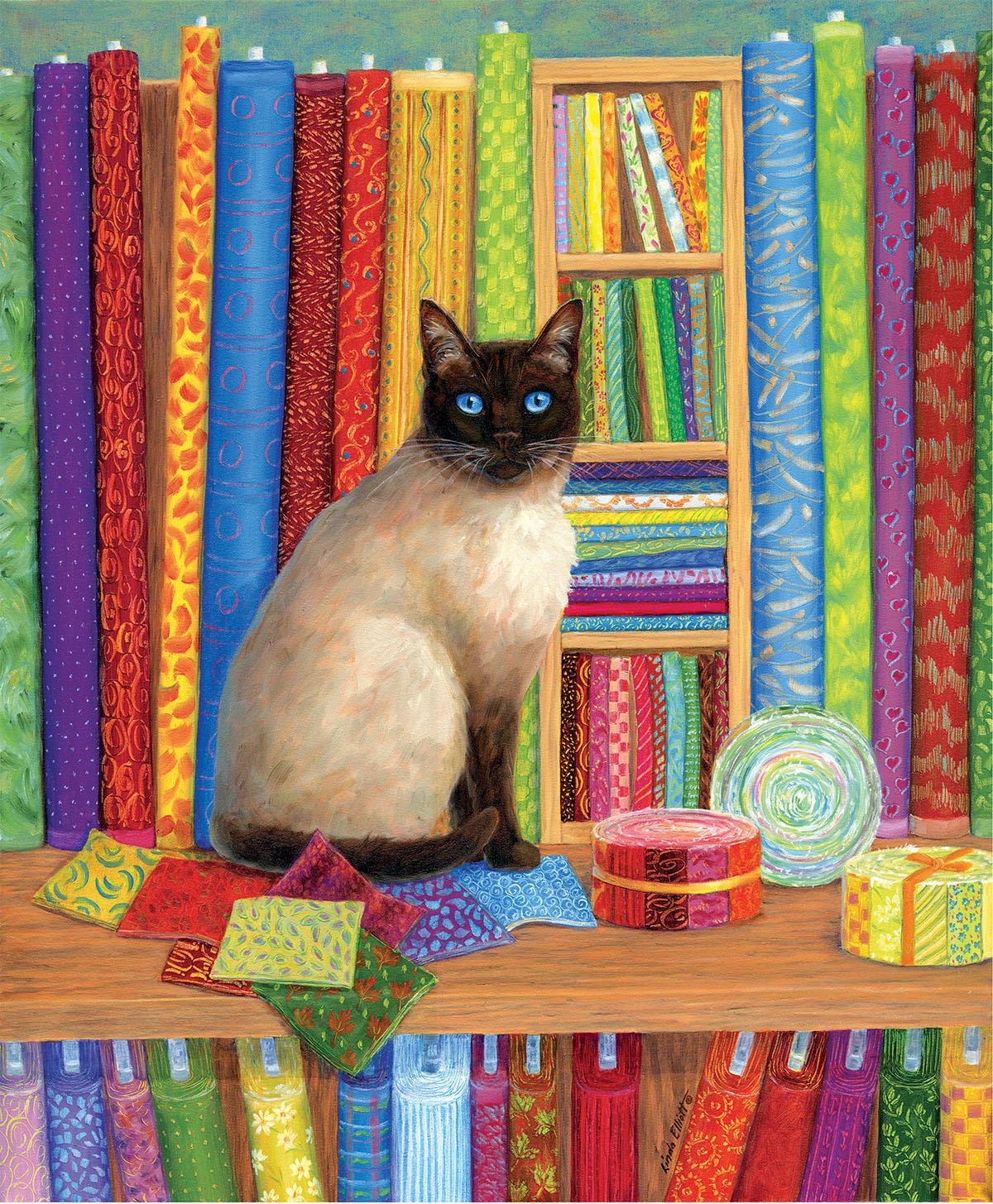 Quilt Shop Cat Crafts & Textile Arts Jigsaw Puzzle