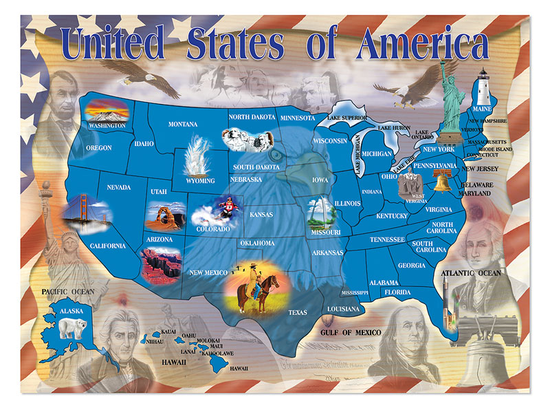 Map of the U.S.A. Maps Jigsaw Puzzle