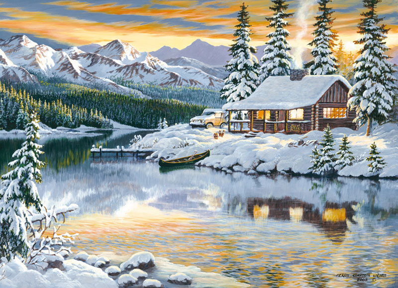 Cabin on the River Outdoors Jigsaw Puzzle