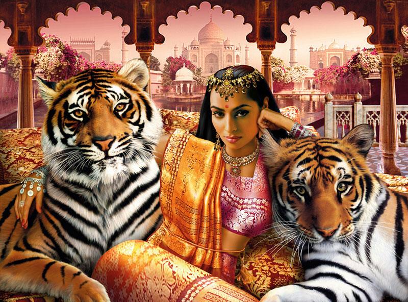 Indian Princess Jungle Animals Jigsaw Puzzle