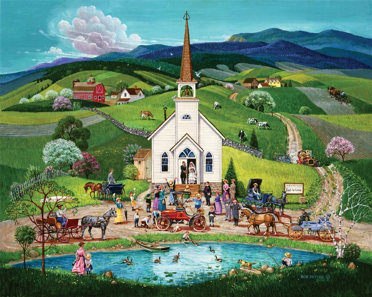 Spring Wedding Landscape Jigsaw Puzzle