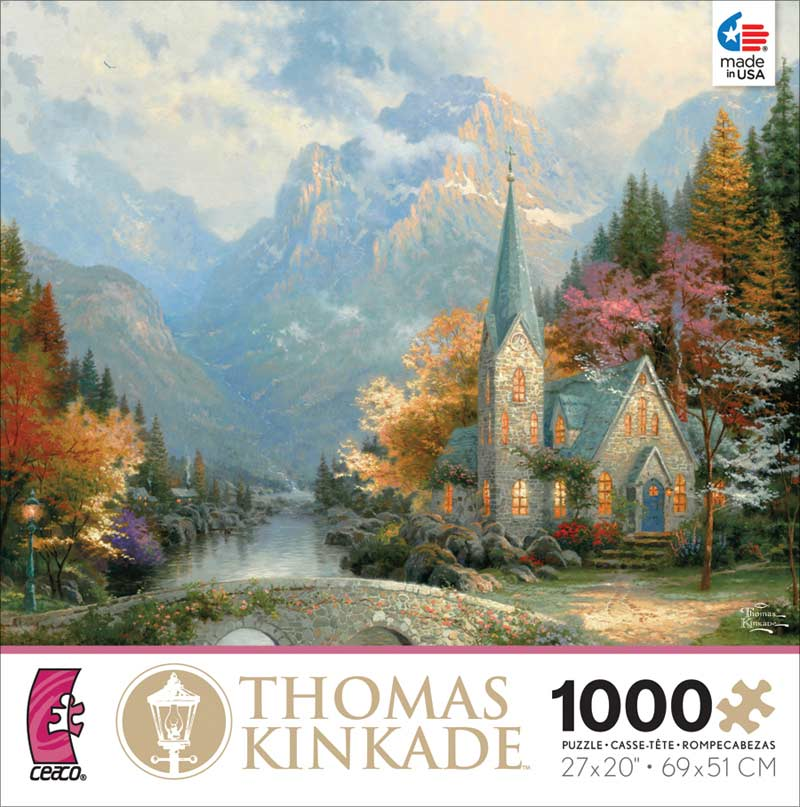Kinkade - Mountain Chapel Churches Jigsaw Puzzle