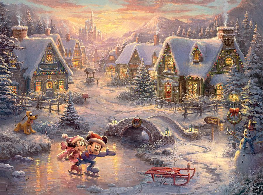 Mickey & Minnie Sweetheart Holiday (Thomas Kinkade Holiday) Jigsaw ...