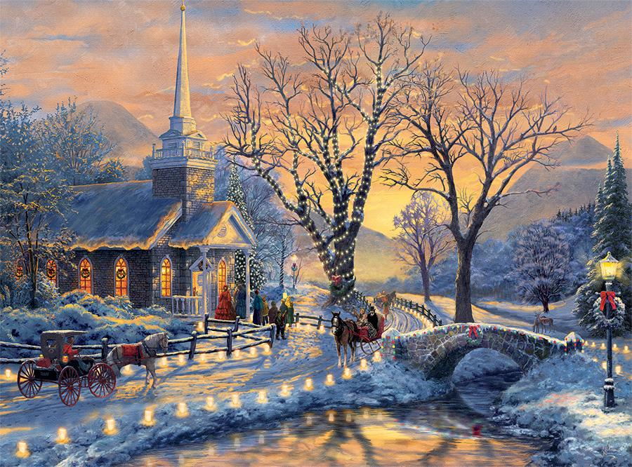Thomas Kinkade Christmas.Holiday Evening Sleigh Ride Thomas Kinkade Holiday