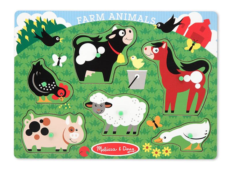Peg Puzzle - Farm Farm Animals Children's Puzzles