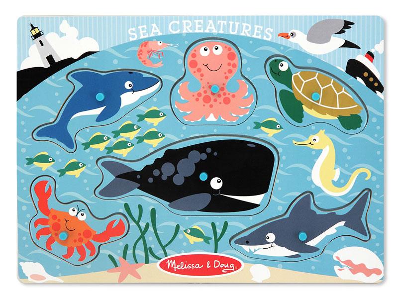 Peg Puzzle - Sea Creatures Marine Life Children's Puzzles