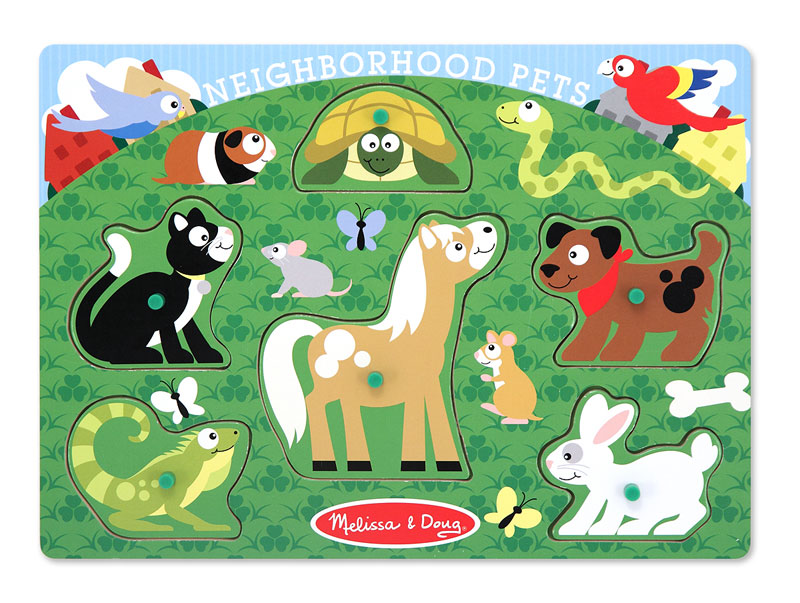 Peg Puzzle - Neighborhood Pets Other Animals Children's Puzzles