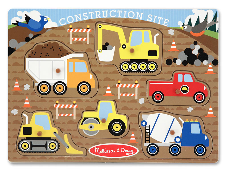 Peg Puzzle - Construction Site Construction Children's Puzzles