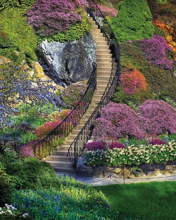 Garden Stairway Flowers Jigsaw Puzzle