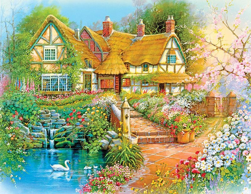 Country Cottage Cottage/Cabin Jigsaw Puzzle
