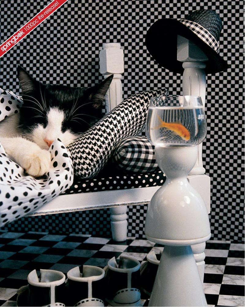 Checkerboard Cat Cats Jigsaw Puzzle
