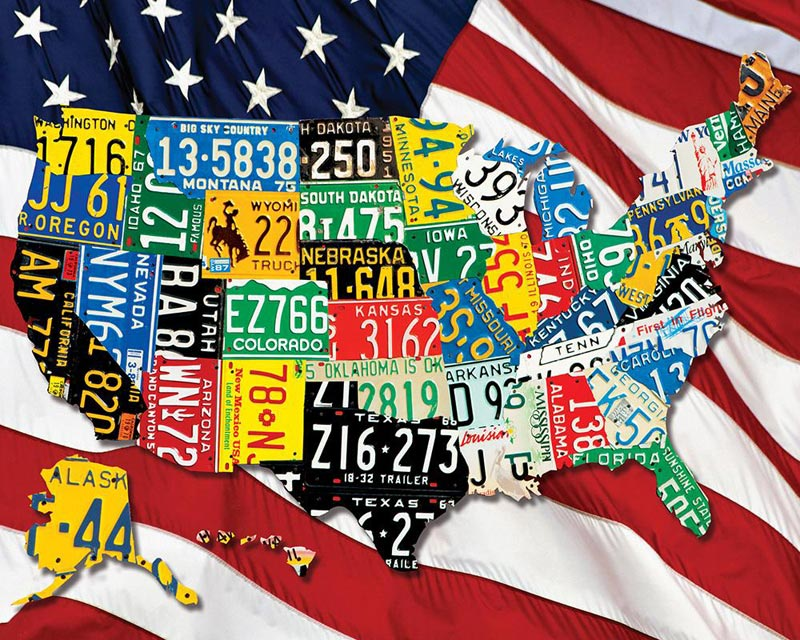 State Plates Travel Jigsaw Puzzle