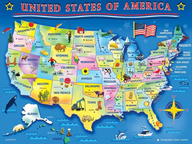Usa Map Jigsaw Puzzle Puzzlewarehousecom - Us-map-with-landmarks