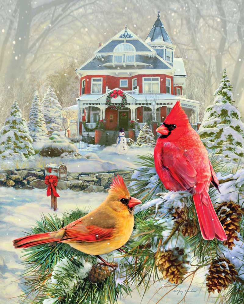Cardinal Holiday Retreat Birds Jigsaw Puzzle