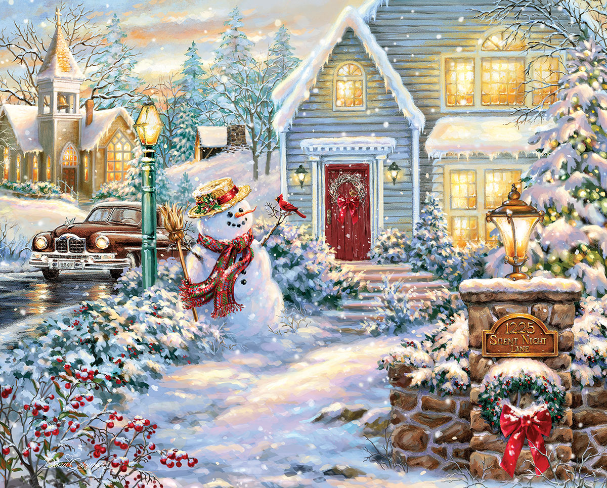Silent Night Lane Winter Jigsaw Puzzle