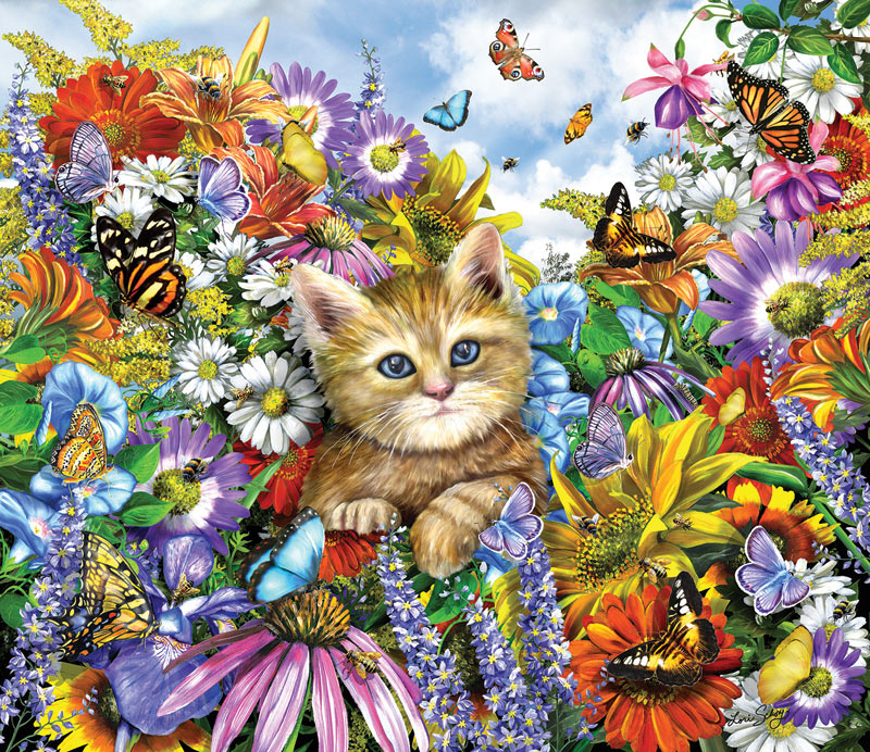 Kitty in the Garden - Scratch and Dent Cats Jigsaw Puzzle