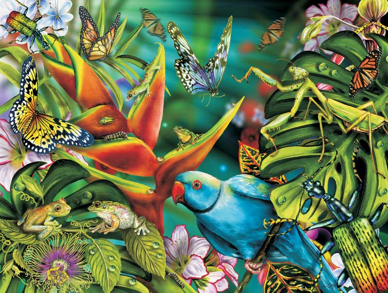 Blue Parrot & Friends Butterflies and Insects Jigsaw Puzzle