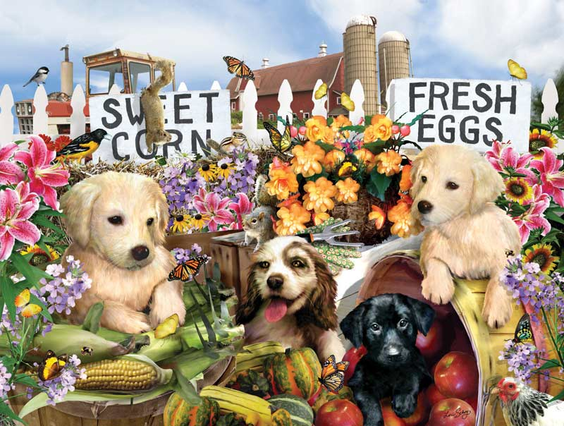 Puppies on the Farm Dogs Jigsaw Puzzle