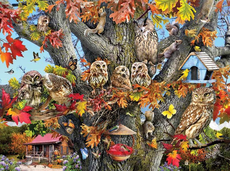 Owl Family Reunion Birds Jigsaw Puzzle