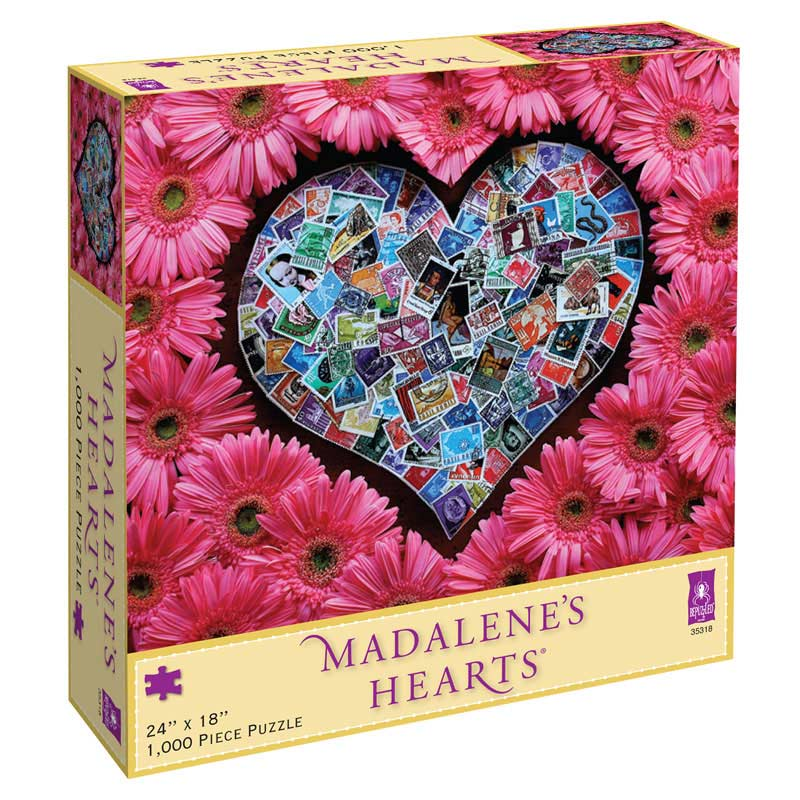 Madalene's Hearts - Stamps with Gerber Daisies Flowers Jigsaw Puzzle
