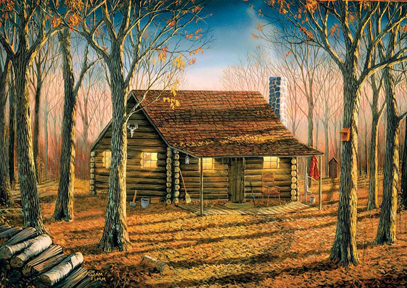 Woodland Cabin Fall Jigsaw Puzzle