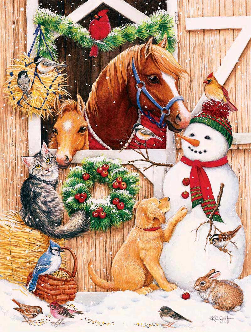 Barn Door Crowd Christmas Jigsaw Puzzle