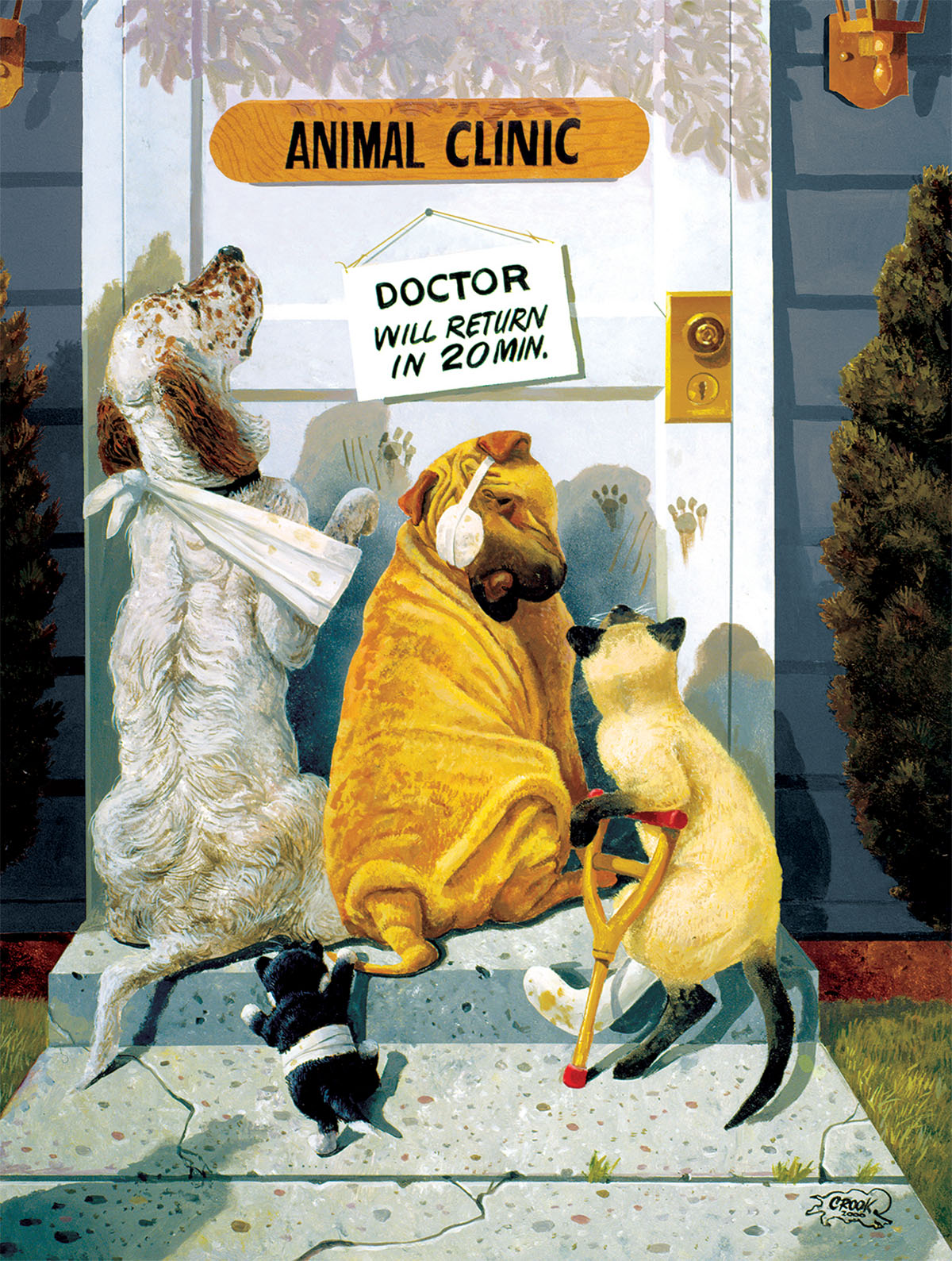 Waiting for the Doctor Dogs Jigsaw Puzzle