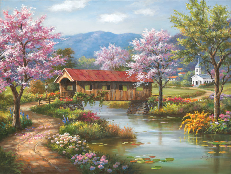 Covered Bridge in Spring Countryside Jigsaw Puzzle