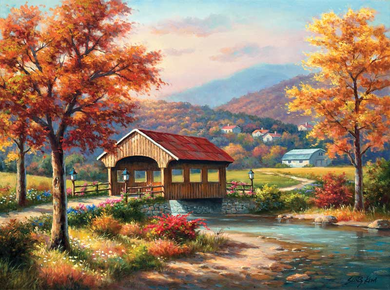 Fall at the Covered Bridge Countryside Jigsaw Puzzle