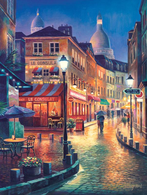 Night Stroll Street Scene Jigsaw Puzzle