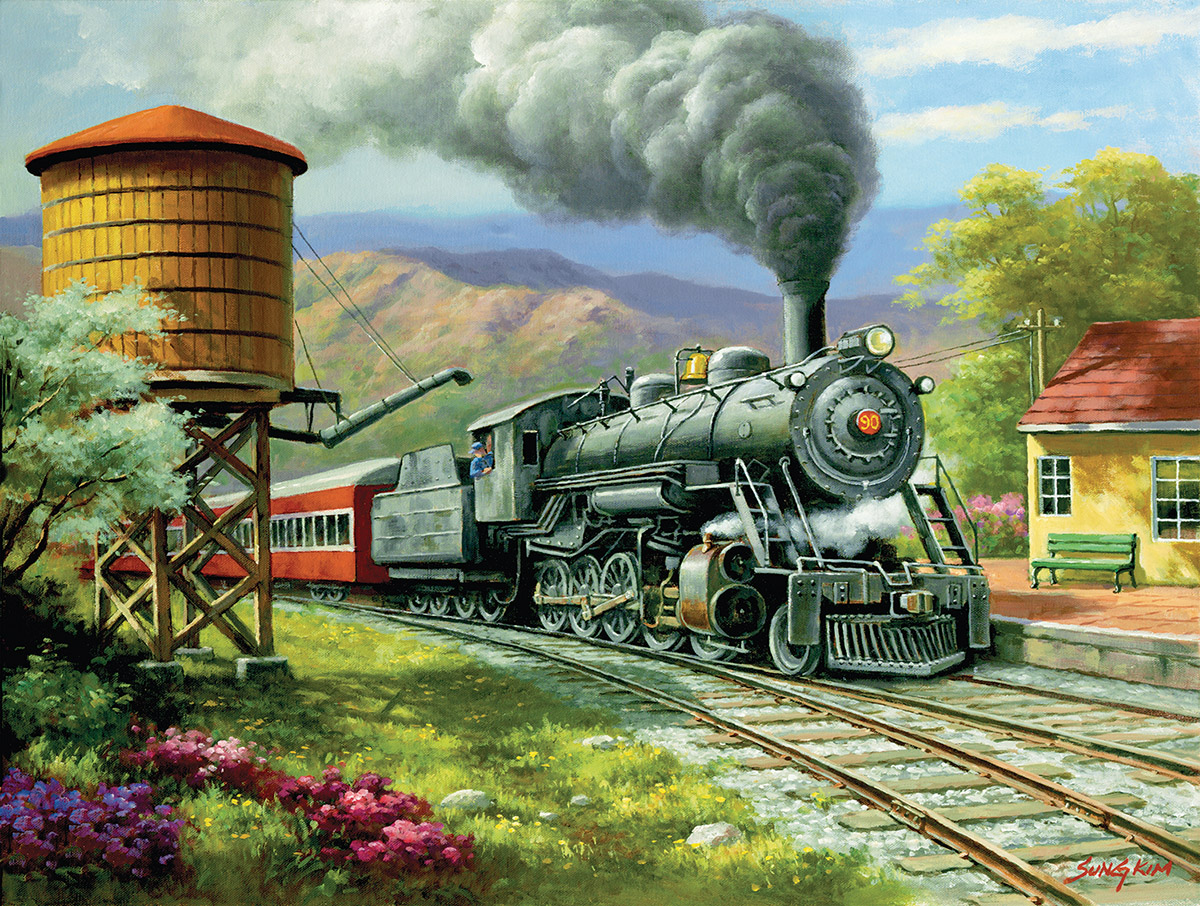 No. 90's Daily Run - Scratch and Dent Trains Jigsaw Puzzle