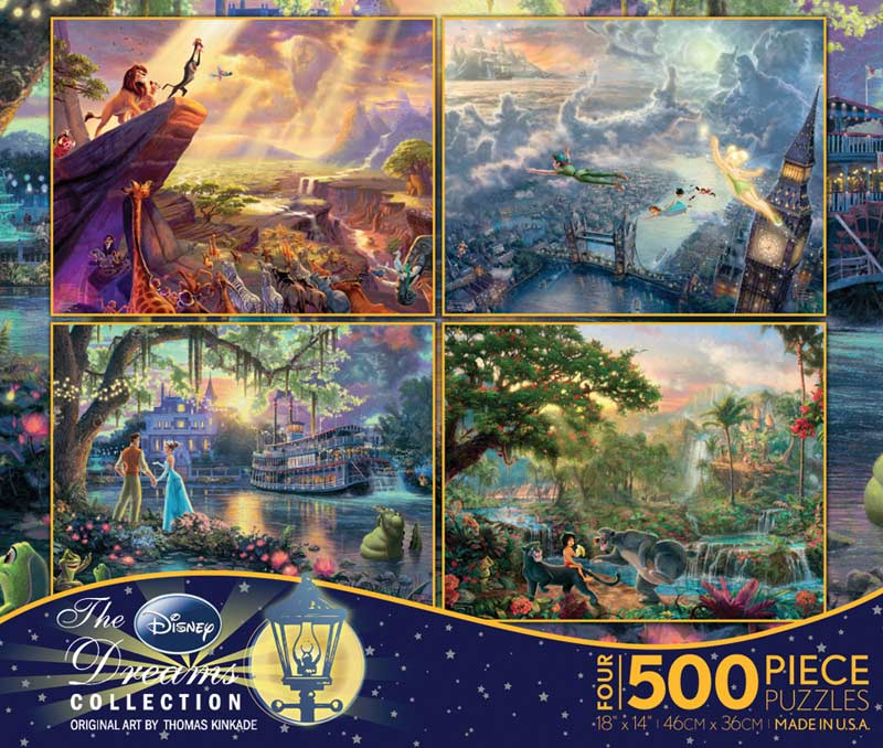 Thomas Kinkade Disney 4-in-1 Pack Disney Jigsaw Puzzle