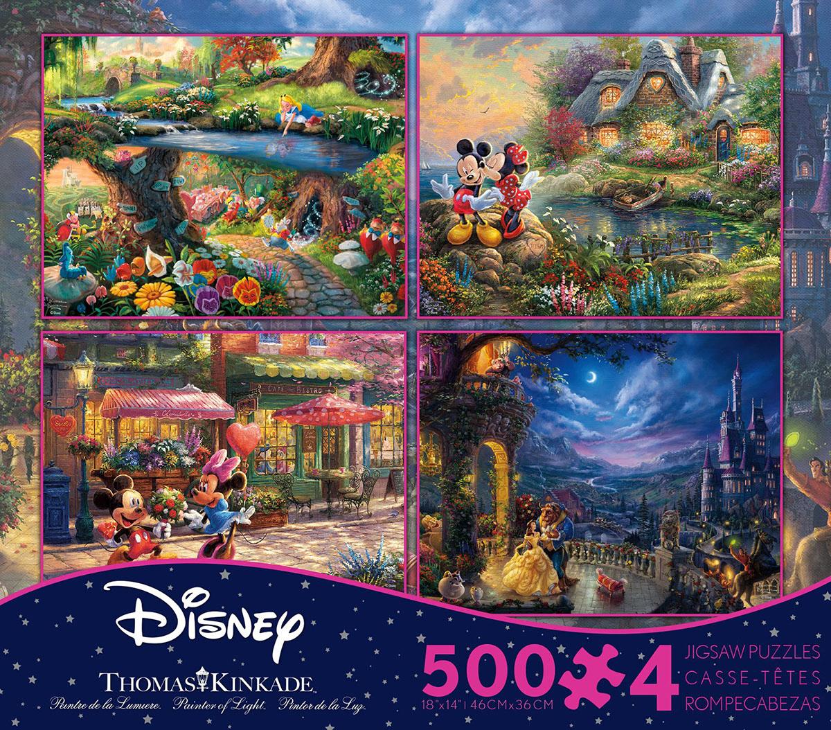 Iconic Disney 4 in 1, 500 Piece Thomas Kinkade Disney Dreams Multi-Pack Disney Jigsaw Puzzle