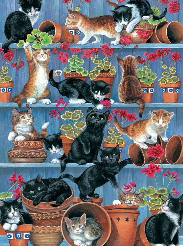 Flower Pots Cats Jigsaw Puzzle