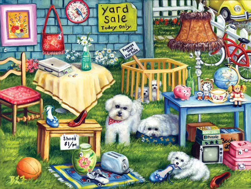 Yard Sale Dogs Jigsaw Puzzle