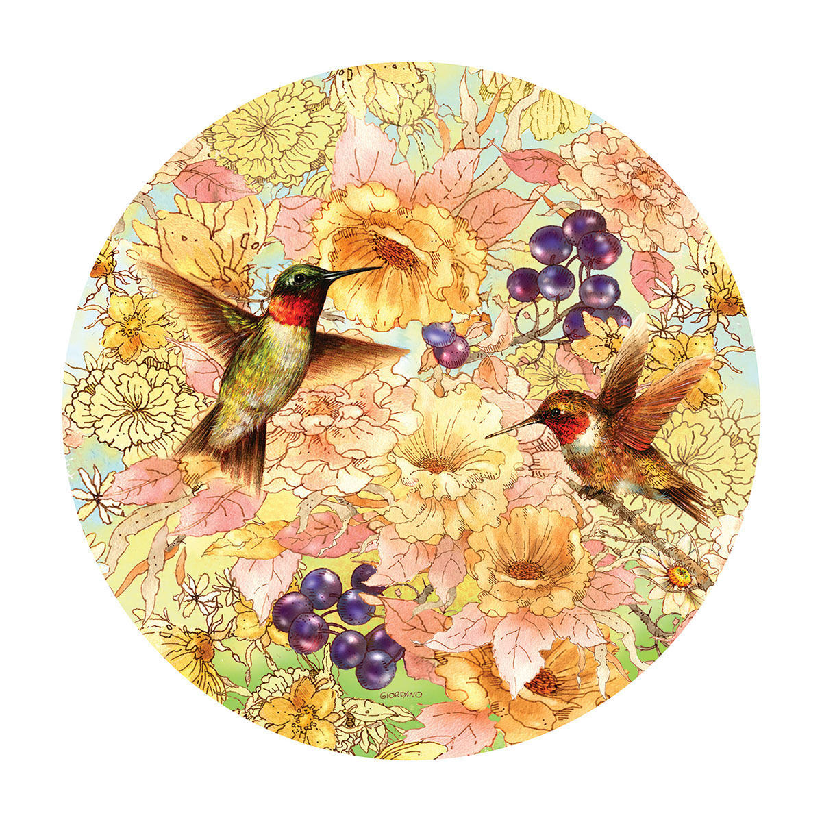 Hummingbirds and Berries - Scratch and Dent Birds Shaped Puzzle