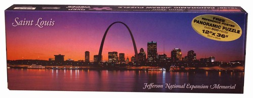 Saint Louis Arch Sunset Panoramic Landmarks Jigsaw Puzzle