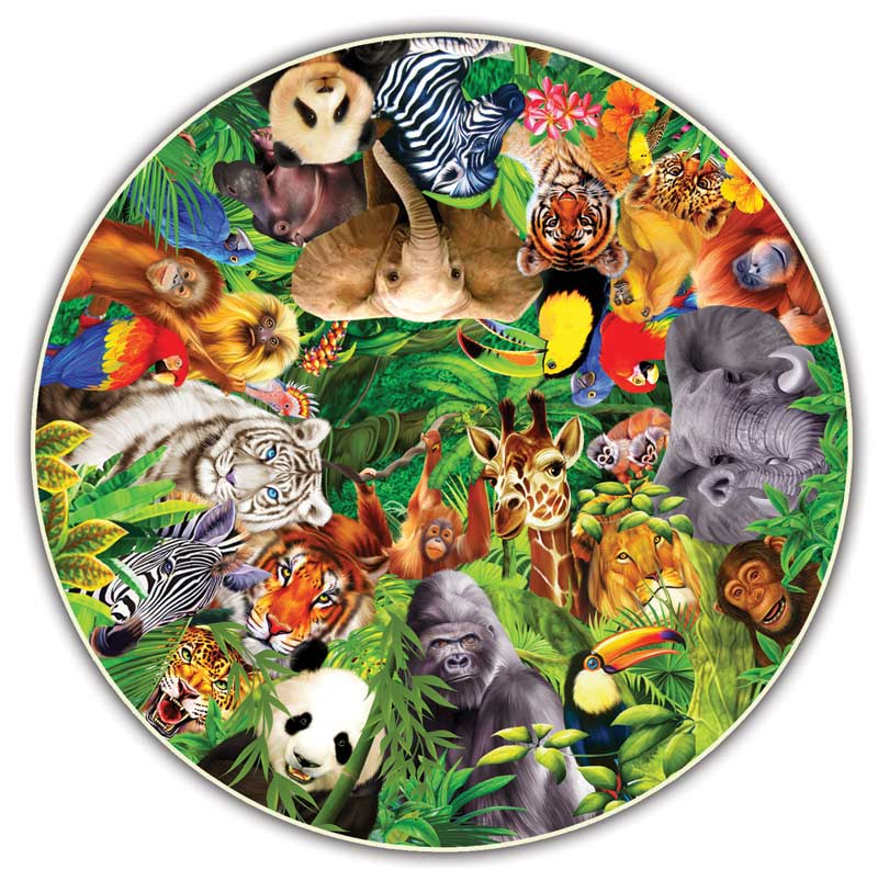 Wild Animals (Round Table Puzzle) Jungle Animals Shaped Puzzle
