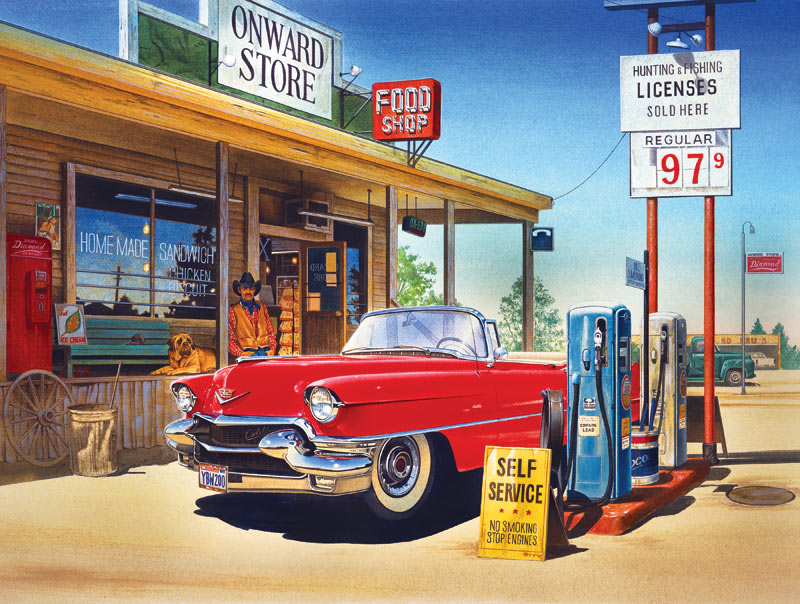 Onward Store Gas Station - Scratch and Dent Cars Jigsaw Puzzle